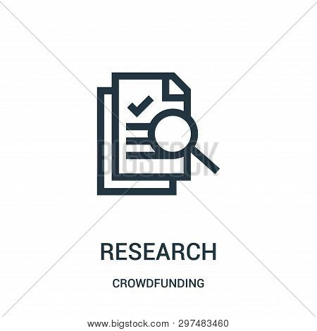 Research Icon Isolated On White Background From Crowdfunding Collection. Research Icon Trendy And Mo