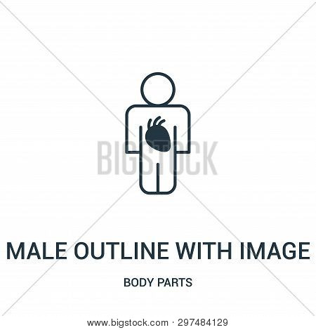 Male Outline With Image Of The Heart Icon Isolated On White Background From Body Parts Collection. M