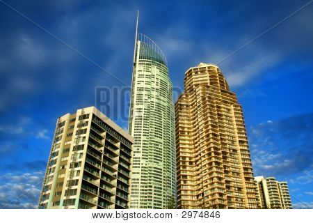 Group of apartment towers including Q1 in Surfers Paradise on the Gold Coast Australia just after sunrise. poster