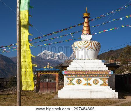 View Of Stupa, Pagoda Or Chorten And Prayer Flags. Monastery In Sallery Village, Nepal Himalayas Mou