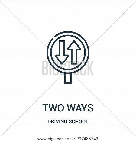 Two Ways Icon Isolated On White Background From Driving School Collection. Two Ways Icon Trendy And