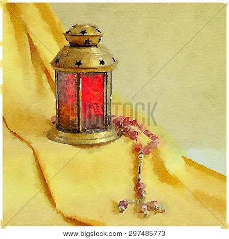 Ramadan lamp and rosary still life painting in water color. Ramadan artistic  greeting card cover.