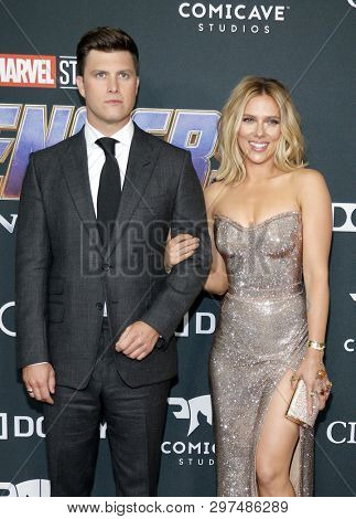 Colin Jost and Scarlett Johansson at the World premiere of 'Avengers: Endgame' held at the LA Convention Center in Los Angeles, USA on April 22, 2019.