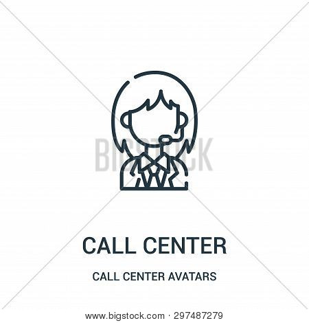Call Center Icon Isolated On White Background From Call Center Avatars Collection. Call Center Icon