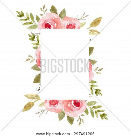 Floral Frame, Watercolor Wedding Decor. Flower Wreath, Template With Leaves For Invitations And Card