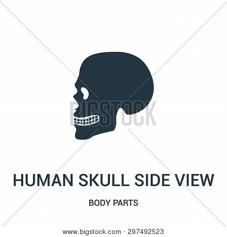 Human Skull Side View Silhouette Icon Isolated On White Background From Body Parts Collection. Human
