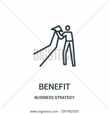 Benefit Icon Isolated On White Background From Business Strategy Collection. Benefit Icon Trendy And