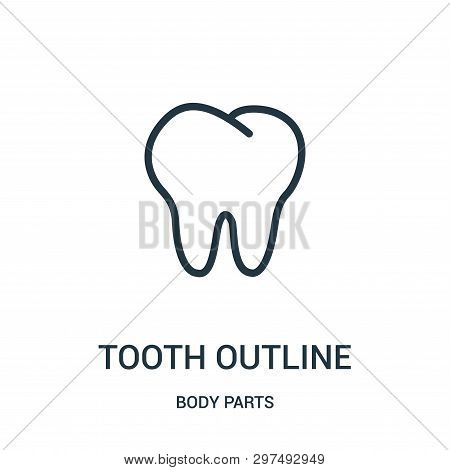 Tooth Outline Icon Isolated On White Background From Body Parts Collection. Tooth Outline Icon Trend