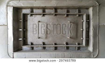 Gray Squre Manhole On Wall Can Open /close For Maintenance Inside Kiln In Factory