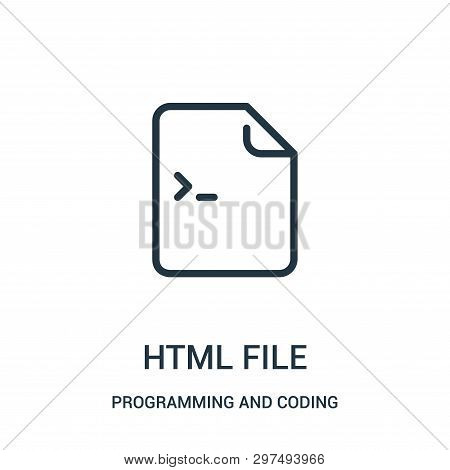 Html File Icon Isolated On White Background From Programming And Coding Collection. Html File Icon T