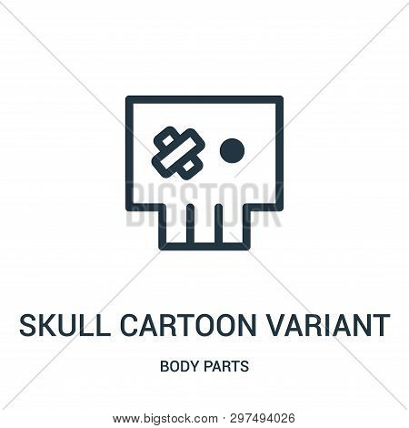 Skull Cartoon Variant With Tape On Left Eye Icon Isolated On White Background From Body Parts Collec