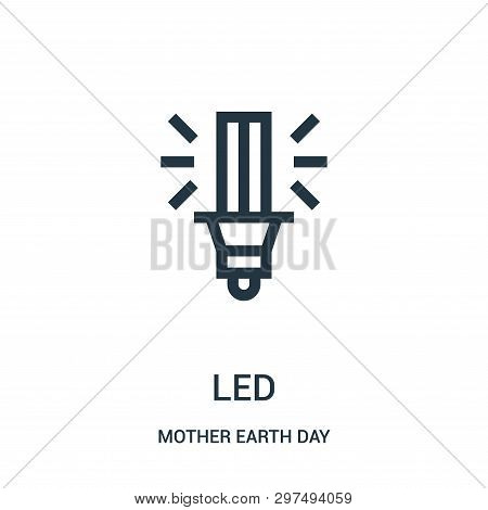 Led Icon Isolated On White Background From Mother Earth Day Collection. Led Icon Trendy And Modern L