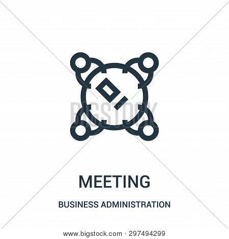 Meeting Icon Isolated On White Background From Business Administration Collection. Meeting Icon Tren