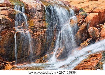 Views Of Waterfalls At Gunlock State Park Reservoir Falls, In Gunlock, Utah By St George. Spring Run