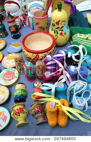 Ulan-ude, Buryatia, Russia. Exhibition And Sale Of Russian Folk Souvenirs Crafts Fair