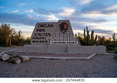 Ajo, Arizona - March 23, 2019: Welcome Sign To Organ Pipe Cactus National Monument In The Sonoran De
