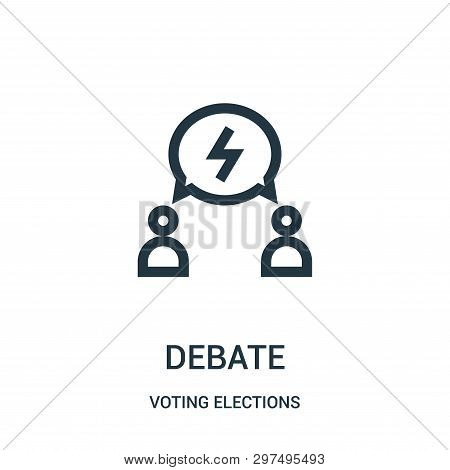 Debate Icon Isolated On White Background From Voting Elections Collection. Debate Icon Trendy And Mo