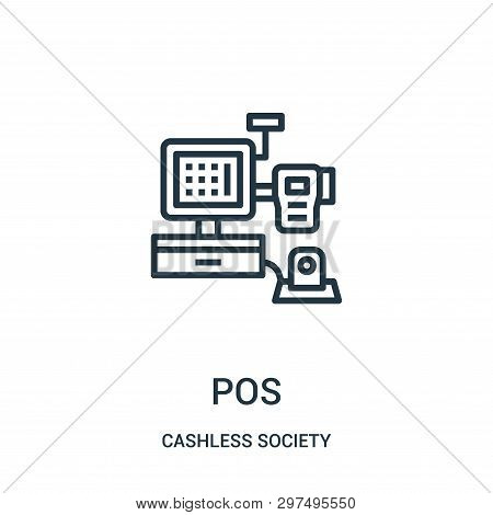 Pos Icon Isolated On White Background From Cashless Society Collection. Pos Icon Trendy And Modern P
