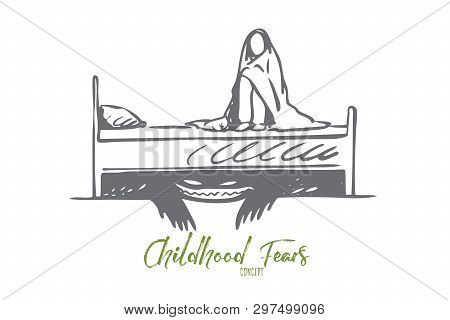 Bed, Monster, Child, Horror, Scary Concept. Hand Drawn Scared Baby Sitting On The Bed, Afraid Of The