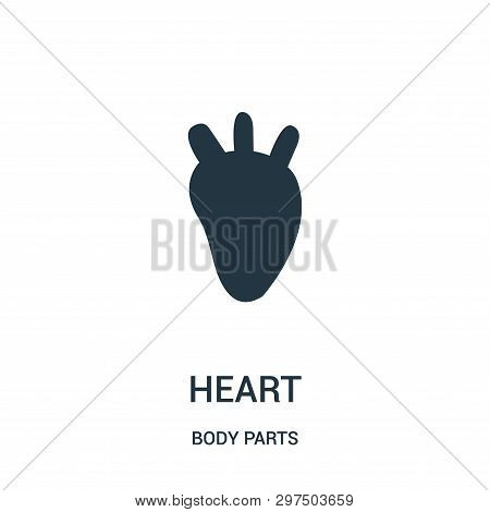 Heart Silhouette Icon Isolated On White Background From Body Parts Collection. Heart Silhouette Icon