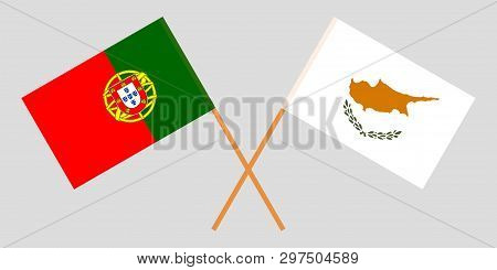 Portugal And Cyprus. The Portuguese And Cyprian Flags. Official Colors. Correct Proportion. Vector I