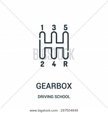 Gearbox Icon Isolated On White Background From Driving School Collection. Gearbox Icon Trendy And Mo