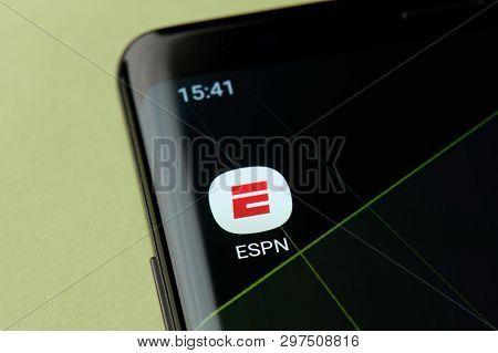 New York, Usa - April 22, 2019: Espn Sport App Icon Macro View On Smartphone Screen Desktop