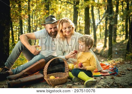 Picnic In Nature. Country Style Family. Meaning Of Happy Family. United With Nature. Family Day Conc