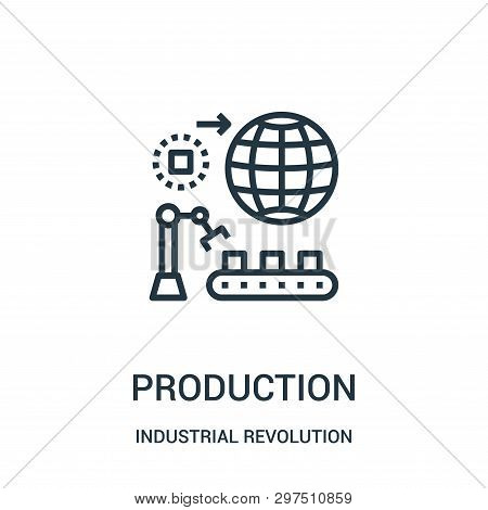 Production Icon Isolated On White Background From Industrial Revolution Collection. Production Icon