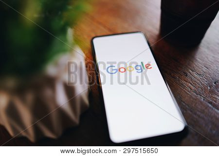 Chiang Mai, Thailand - Mar. 24,2019: Xiaomi Mi Mix 3 Mobile Phone With Google Search On Screen. Goog