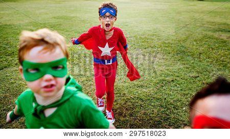 Superhero kids with superpowers