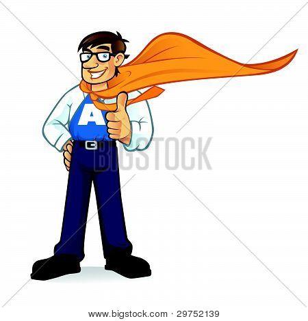 Cartoon Superhero Geeks Businessman