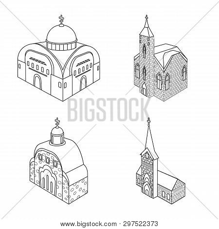 Vector Illustration Of Architecture And Building Sign. Collection Of Architecture And Clergy Stock V