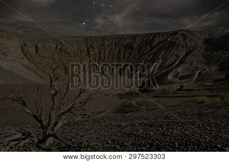 Ubehebe Crater At Night Is A Large Volcanic Crater Of The Ubehebe Craters Volcanic Field In The Nort