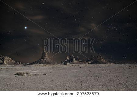 Stellar Night View Of Trona Pinnacles With Big Dipper (little Dipper).