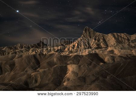 Zabriskie Point At Night Is A Part Of Amargosa Range Located East Of Death Valley In Death Valley Na