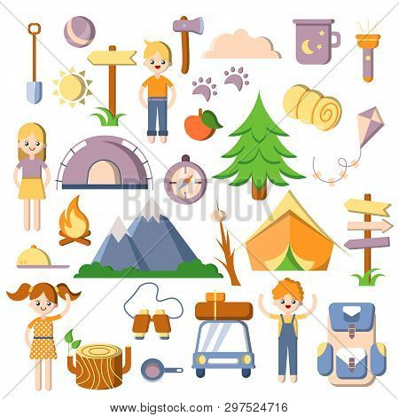 Summer Kids Camping, Vector Flat, Cartoon Set Of Camp Icons. Tent, Trees, Car, Kids, Equipment For C