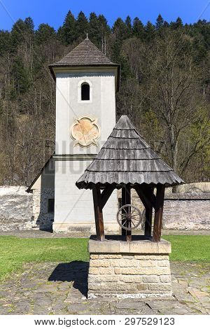 14th Century Red Monastery, Bell Tower With Sundial, Wooden Well, Slovakia