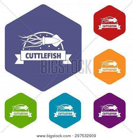 Cuttlefish Shop Icons Vector Colorful Hexahedron Set Collection Isolated On White