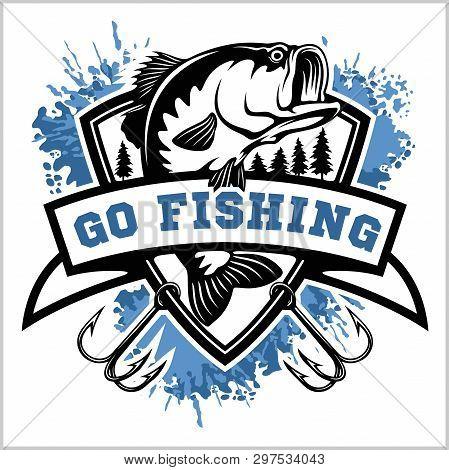 Fishing Logo. Bass Fish With Club Emblem. Fishing Theme Vector Illustration.
