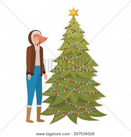 Woman With Christmas Tree Avatar Character Vector Illustration Desing