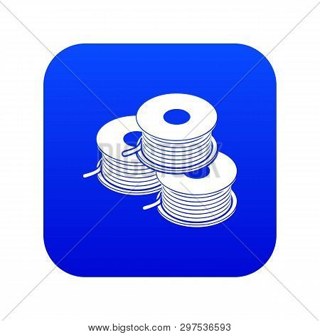 Coil For D Printer Icon Blue Vector Isolated On White Background