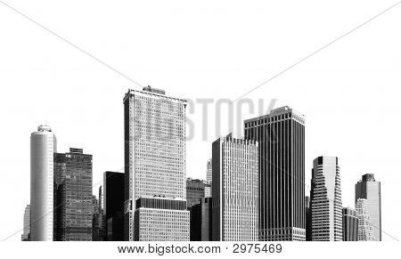cityscape - silhouettes of skyscrapers over white background poster