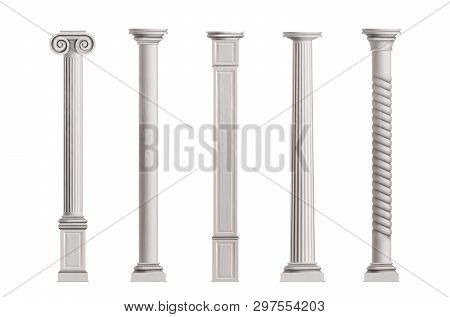 Cubic And Cylindrical Columns Of White Marble Stone With Smooth And Textured Surface 3d Realistic Ve