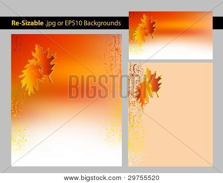 Abstract Autumn Leaves Background Template Set