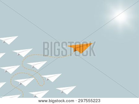 Paper Airplane Competition With Orange Airplane Ahead, Business Competition Leadership Ambitious Suc