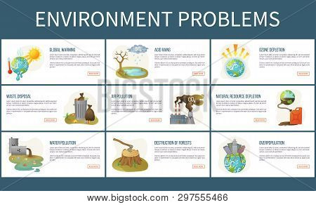 Environmental Problems Vector, Ozone Depletion And Deforestation, Water And Air Pollution, Global Wa