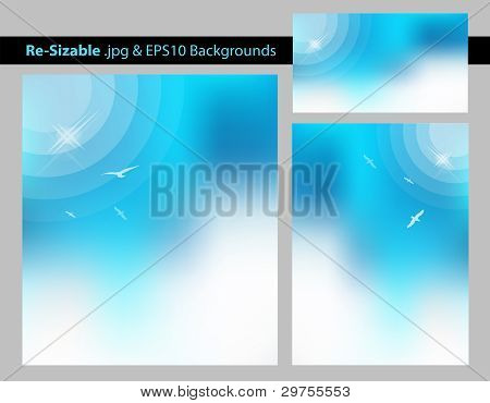 Abstract Blue Sun Background Template Set