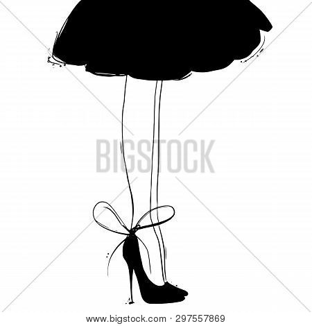 Vector Girl In High Heels With Little Black Dress. Fashion Illustration. Female Legs In Shoes. Cute