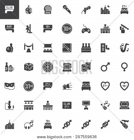 Night Life Vector Icons Set, Modern Solid Symbol Collection, Filled Style Pictogram Pack. Signs, Log